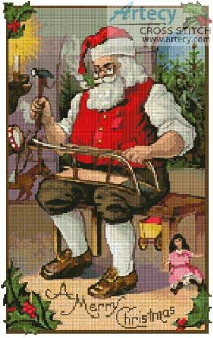 cross stitch pattern Santa 2