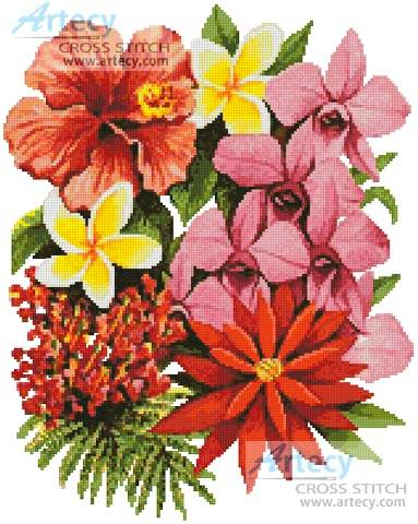 cross stitch pattern Tropical Flowers of Oz