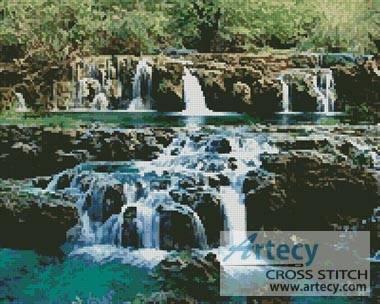 Waterfalls Cross Stitch Pattern Water