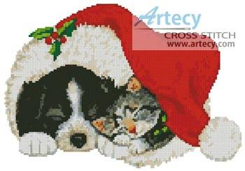 cross stitch pattern Xmas Cat and Dog