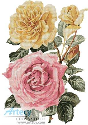 cross stitch pattern Yellow and Pink Roses