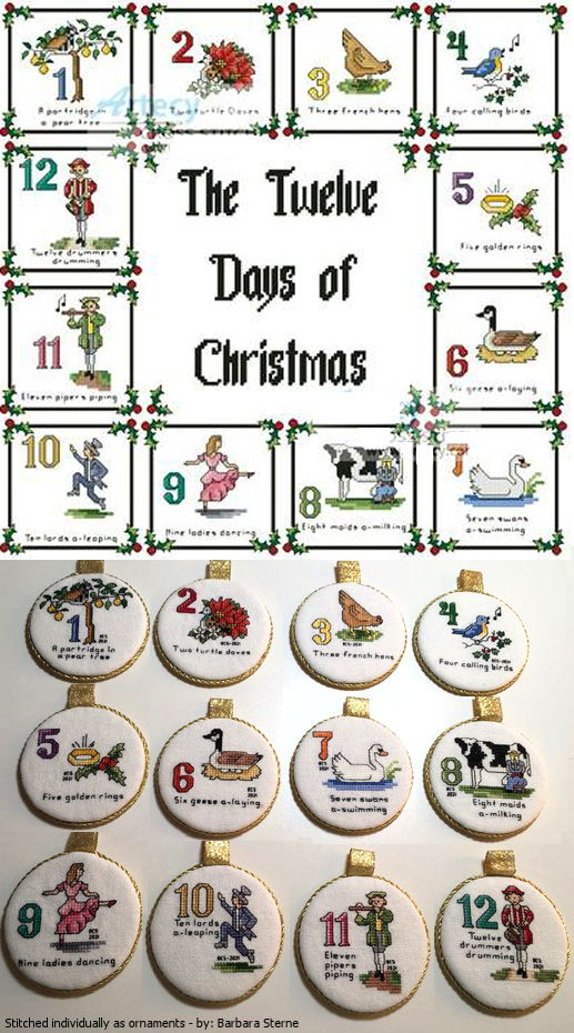 12 Days of Christmas Sampler Cross Stitch Pattern christmas