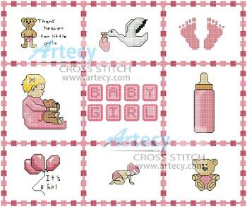 Sentimental Baby: Free Cross Stitch or Filet Crochet Patterns for Baby