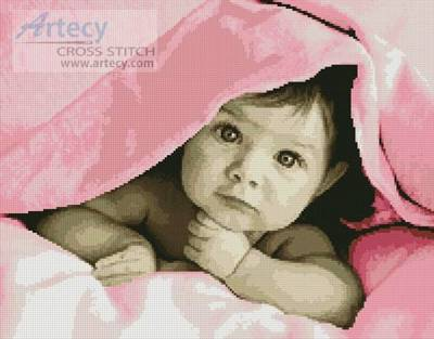 cross stitch pattern Baby Face (Pink)