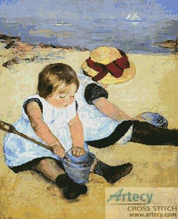 cross stitch pattern Children Playing on the Beach