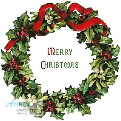 cross stitch pattern Christmas Wreath