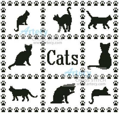 Cat Sampler Cross Stitch Pattern cats