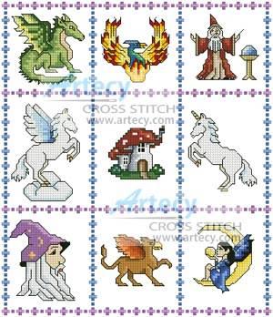 Fantasy Sampler Cross Stitch Pattern Samplers