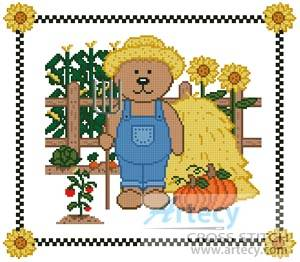 cross stitch pattern Farm Teddy Border 2
