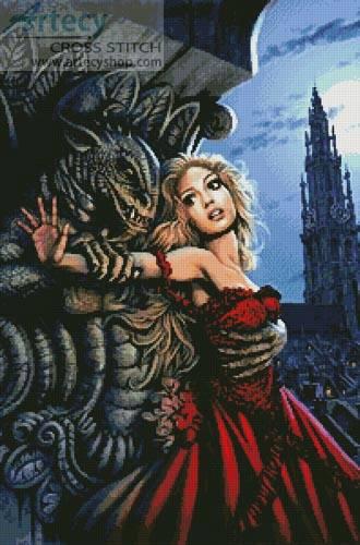 Gargoyles Embrace Cross Stitch Pattern Fantasy
