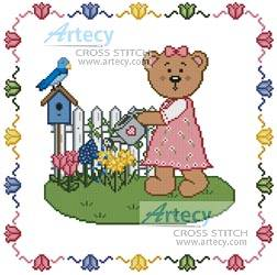 cross stitch pattern Garden Teddy Border 2
