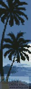 cross stitch pattern Moonlight with Palm Trees Bookmark