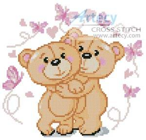 cross stitch pattern Mini Teddies in Love (Pink)