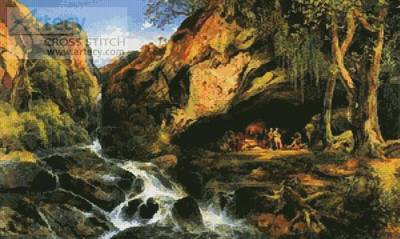 cross stitch pattern Salvator Rosa and the Brigands