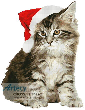 cross stitch pattern Santa Cat