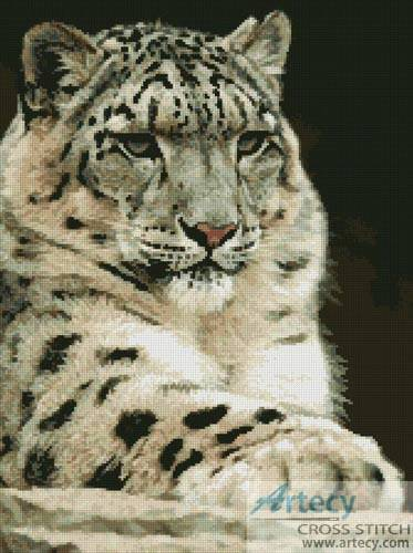 Snow Leopard 2 Cross Stitch Pattern Leopard