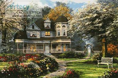 Victorian Home Cross Stitch Pattern Scenery
