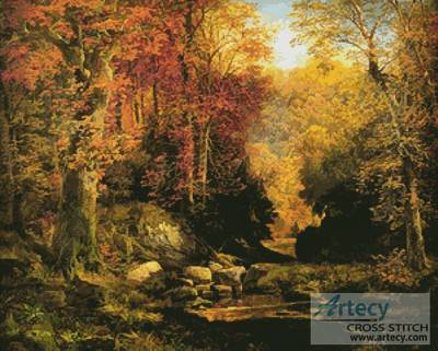 cross stitch pattern Woodland Interior with Rocky Stream