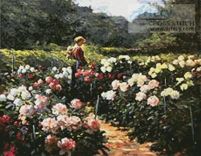 cross stitch pattern Woman in a Garden