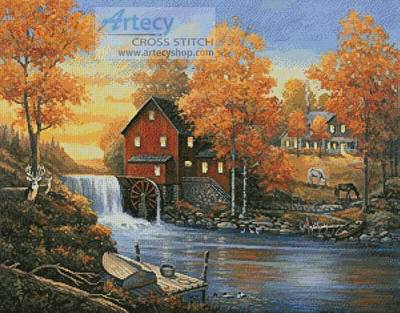 cross stitch pattern Autumn Sunset at the Old Mill