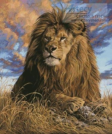Watchful Eyes Cross Stitch Pattern Lion