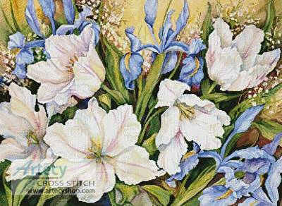 cross stitch pattern White Tulips and Blue Iris