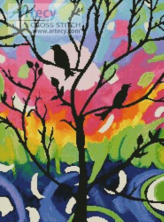 cross stitch pattern Birds in Tree
