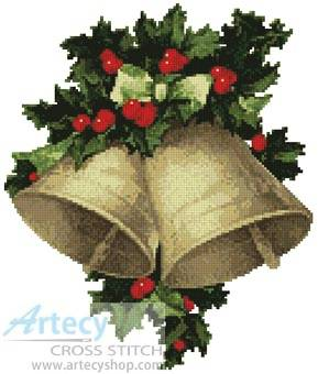 cross stitch pattern Bells and Holly