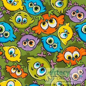 cross stitch pattern Cartoon Birds Cushion 2
