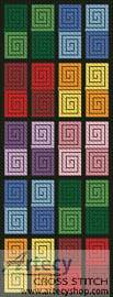 cross stitch pattern Coloured Checkered Bookmark