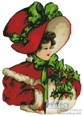 cross stitch pattern Christmas Belle