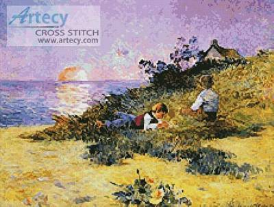cross stitch pattern Children on a Dune