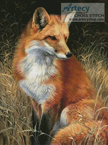 Red Fox Painting Cross Stitch Pattern Wild