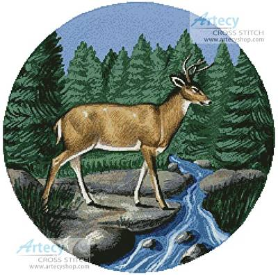 Deer Crossing (cross stitch pattern)