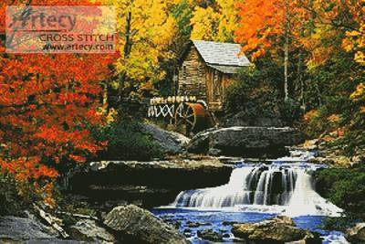 cross stitch pattern Glade Creek, Grist Mill
