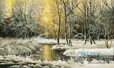 cross stitch pattern Golden Winter Lake