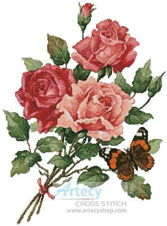 cross stitch pattern Roses and Butterfly