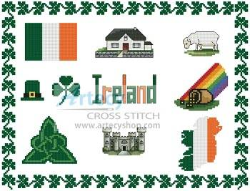 cross stitch pattern Ireland Sampler