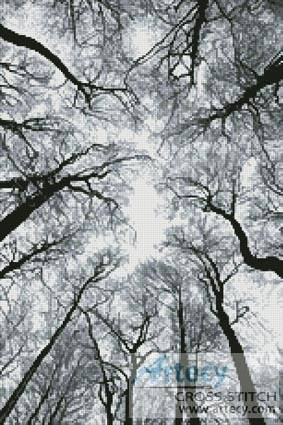 cross stitch pattern Looking up at Winter Trees