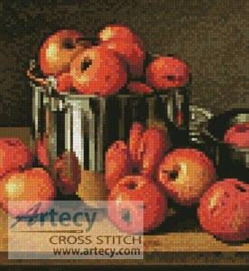 cross stitch pattern Mini Apples in a Tin