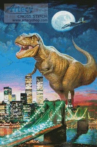 Dinosaur In New York Cross Stitch Pattern Whimsy