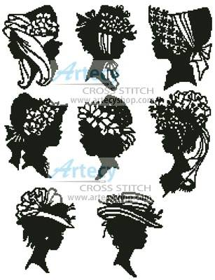 Mini Lady Silhouettes Cross Stitch Pattern Women