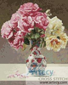cross stitch pattern Mini Roses in a Vase