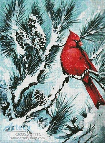 winter u0026 39 s glory red bird cross stitch pattern birds