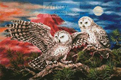 Pair Of Owls Cross Stitch Pattern Owl