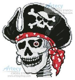 Pirate Skeleton Cross Stitch Pattern Small