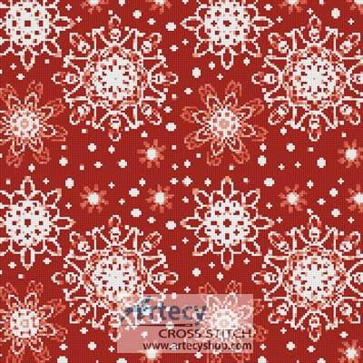 cross stitch pattern Red Snowflakes Cushion