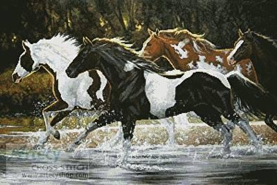 Spray Paint Cross Stitch Pattern Horses