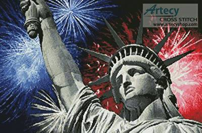 cross stitch pattern Statue of Liberty with Fireworks