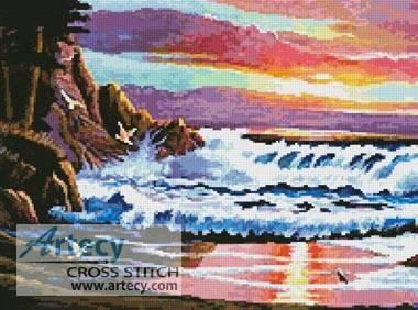 Sunset Beach Cross Stitch Pattern Seaside